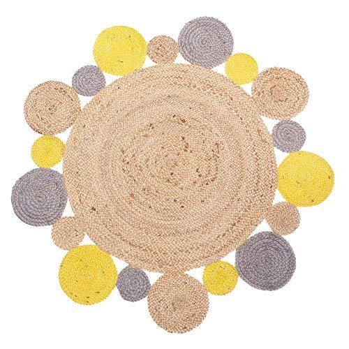 Alfombra redonda amarilla exótica trenzada - ø 120cm