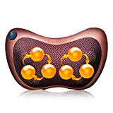 HappyGo Shiatsu Back Neck Massager with 6 Heated Rollers, Pillow Kneading Massager