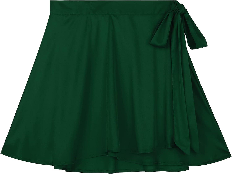 Haitryli Women's Satin Belted Overlap Adjustable Wrap High Waist Tie Knot Belt Skater Mini Skirt
