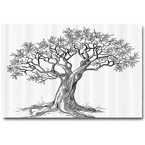 ScottDecor Nature Wall Decor for Dorm Room Olive Tree Figure in Hand Drawn Style Plant Woodland Forest Artistic Growth Picture No Frame Black White L24 x H48 Inch
