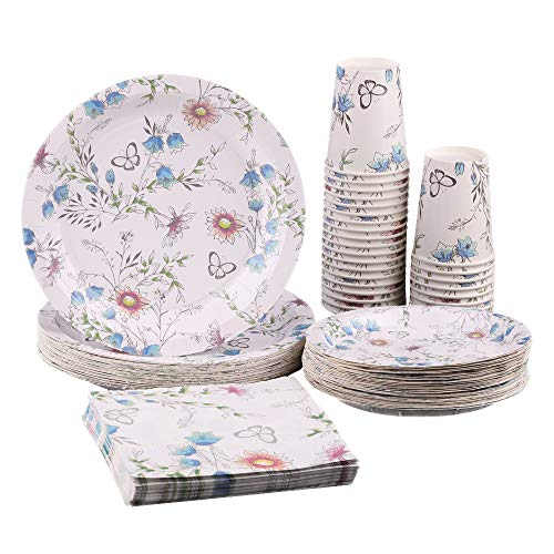 Ottin Floral Tea Party Supplies for 50 Guests Disposable Blue Butteryfly Paper Plates and Napkins Set for Lunch Party Retirement Girlfriend Party Wedding Engagement Bridal Shower