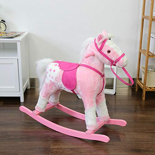 Plush Rocking Horse Wooden Ride on Rocker with Sounds Saddle and Reins