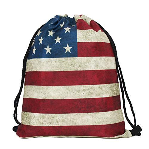 TENDYCOCO Kordelzug Amerika Flag Rucksack Sterne Streifen Sporttasche Unisex 4. Juli String Rucksack