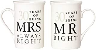 Ivory 30th Anniversary Mr Right & Mrs Always Right Mug Gift Set by Happy Homewares