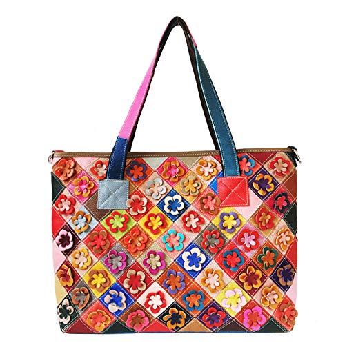 Diminutive Lemon European And American Trend Female Leather Shoulder Bag, Plaid Stripe Stitching Flower Messenger Bag, Large-Capacity Handbag