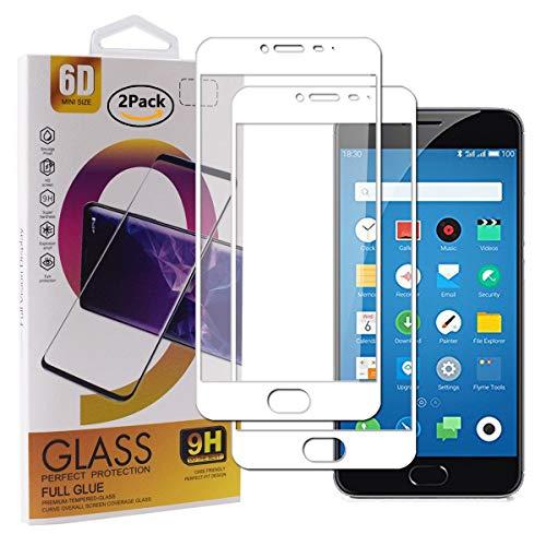 Guran [2 Paquete Protector de Pantalla para Meizu M3 Note/Meizu Note3 Smartphone Cobertura Completa Protección 9H Dureza Alta Definicion Vidrio Templado Película - Blanco