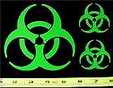 Biohazard Symbol Set of 3 HQ Single Color Lime Green Vinyl Sticker Decals!