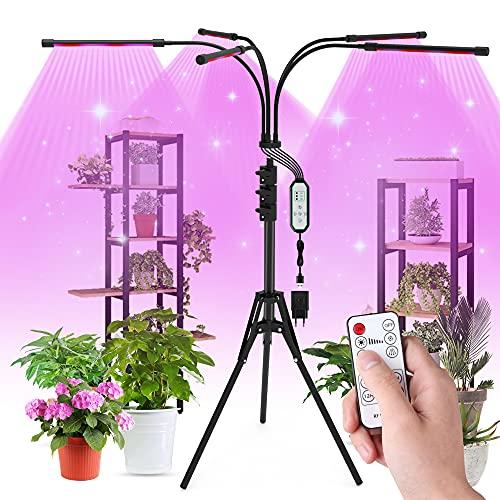 Aogled Lampada per Piante 50W,Lampade da Coltivazione per Piante con Treppiede,Grow Light Spettro Completo con Timer(4/8/12H),Luce per Piante a 5 teste con Telecomando,3 Modalità per Piante da Interno