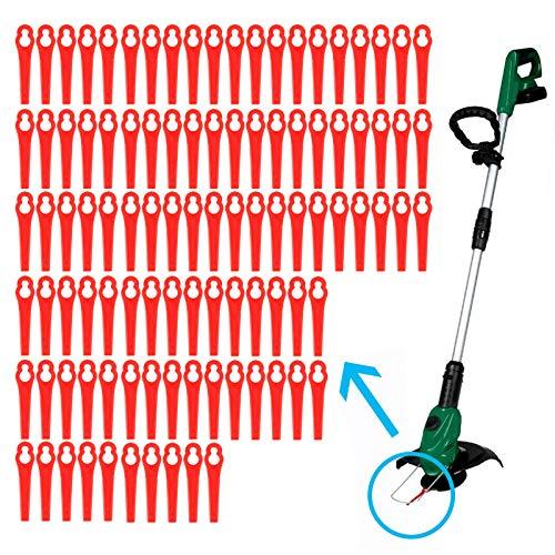 ToPicks 50/100 PCS Lawn Mower Plastic Cutting Blades 83mm Grass Trimmer Cutter Gardening Tool Replacement (100 pcs, Red)
