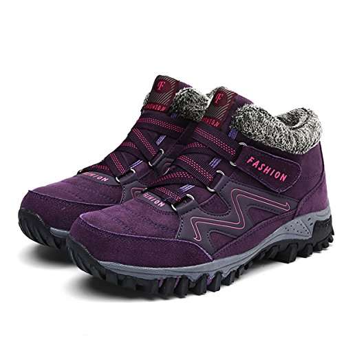 gracosy High Top Sneaker, Women Winter Warm Hook Loop Snow Shoes Fur Lining Casual Boots Ankle Bootie Purple 5 B(M) US