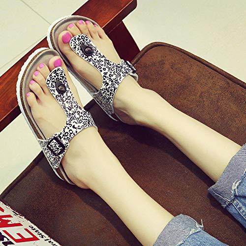 COQUI Chanclas Hombre,Zapatillas Palabras de Las Mujeres Sandalias Ángulo de Corcho Slippers Estudiantes Antideslizantes para Mujer con Parejas Zapatos de Playa-Leopardo_39