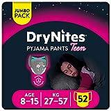 DryNites -Braguitas absorbentes para Niña 8-15 años (27 - 57kg), 4 paquetes x 13 uds (52 unidades)