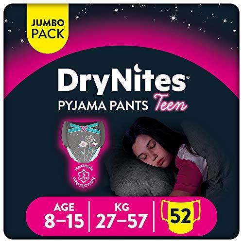 DryNites - Braguitas absorbentes para niña - 8 - 15 años (27-57 kg), 4 paquetes x 13 uds (52 unidades)