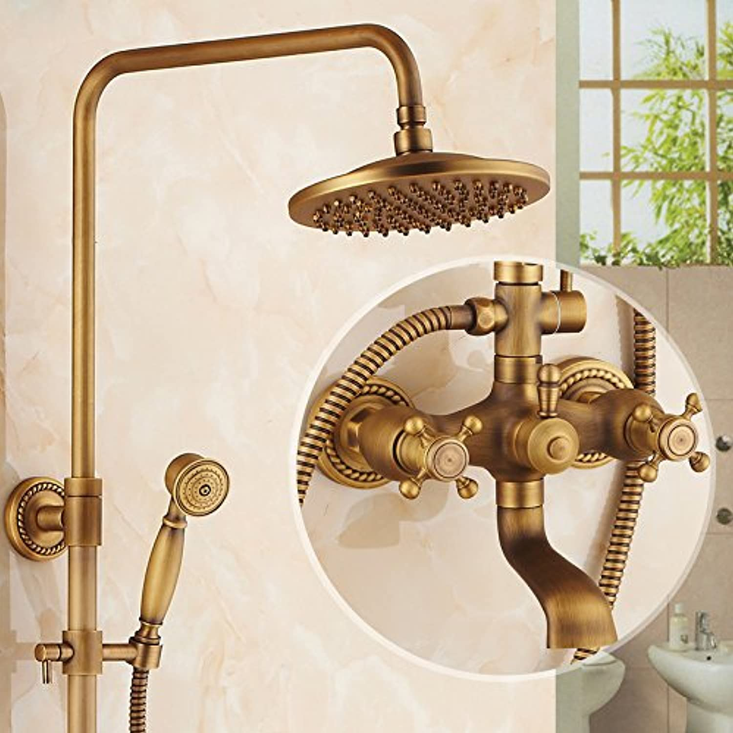 Hlluya Professional Sink Mixer Tap Kitchen Faucet Antique faucets full copper shower set bathroom shower with hot and cold running water taps, water faucet,F