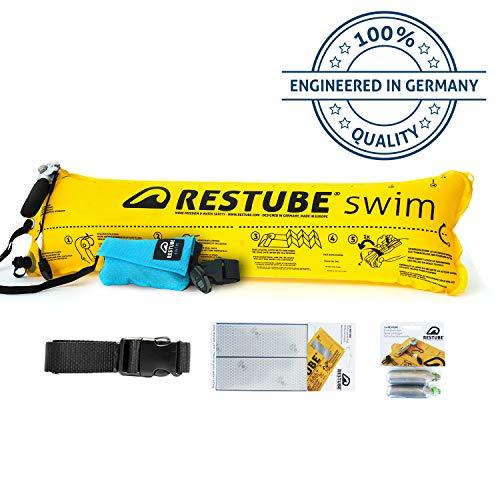 Restube Swim Set | Schwimmboje aufblasbar & Notfall Schwimmhilfe mit Zubehör