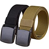 Hoanan 2 Pack 1.25' Wide Military Tactical Belt, No Metal Webbing Nylon Web Belt(black+brown)
