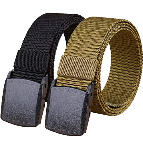 "Hoanan 2 Pack 1.25"" Wide Military Tactical Belt, No Metal Webbing Nylon Web Belt(black+brown)"