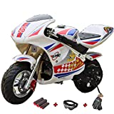 X-PRO Blast 40cc Gas Pocket Bike Mini Motorcycle Ride-On 4-Stroke Engine for Kids Padded Seat (Burgundy)