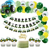 Farm Green Tractor Themed Party Supplies Balloon Garland Kit Tractor Foil Balloon with Happy Birthday Banner Tractor Garland, Cupcake Toppers Kids Birthday Decoration SUNBEAUTY (Green Tractor)