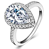 Lemon Grass 3 Ct Pear Shaped Cubic Zirconia Solitaire Engagement Ring Pave Thin Band in Sterling Silver Size 6