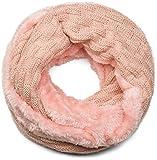styleBREAKER écharpe ronde à mailles fines chaude avec motif tresse et doublure intérieure en polaire très douce, écharpe snood, unisexe 01018150, couleur:Vieux rose-