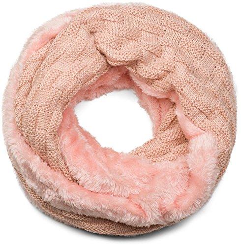 styleBREAKER cálido fular de tubo de punto fino con motivo trenzado y relleno interior polar muy suave, fular de tubo, unisex 01018150, color:Rosa palo