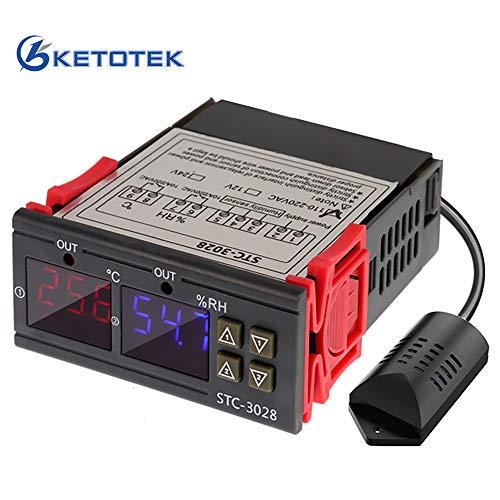 KETOTEK Temperatur Feuchtigkeit Controller Regler 2 Relais 220V 230V Temperaturregler Feuchtigkeitsregler mit Temperatur Feuchte Sensor Fühler Automatisch Heizung Kühlung Schalter
