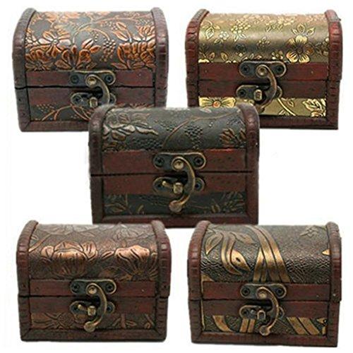 Super1798 - Caja de regalo de joyería de madera vintage con perlas para guardar pulseras y pulseras