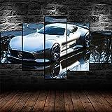 45Tdfc Cuadro En Lienzo 5 Piezas Blanco Mercedes Vision GT Super Coche Dormitorio Arte Cartel Pared DecoracióN del Hogar Cuadro Pintura para Sala Estar Listo para Marco