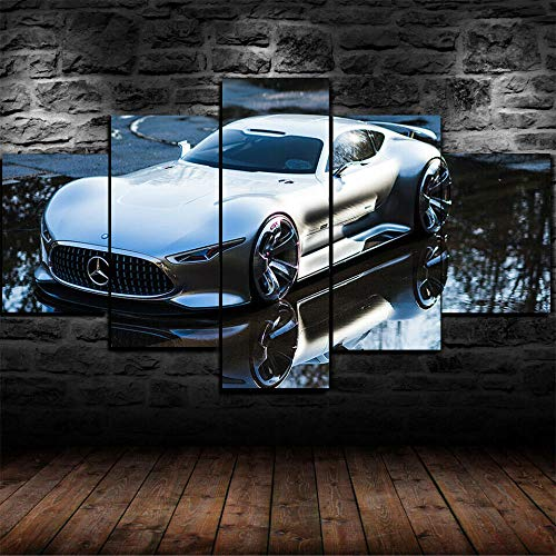 KOPASD Wall Art For living room 150x80 cm Mercedes AMG Vision GT Sports Car 5 Pieces Non-Woven Canvas Prints Image Framed Artwork Painting Picture Home Decoration