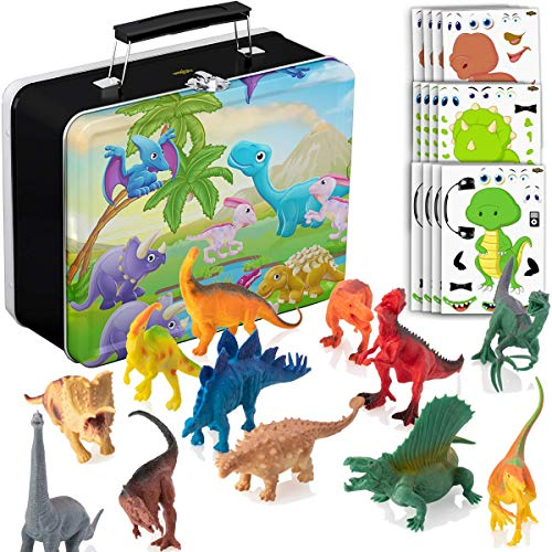 PartyNow Dinosaur Toys for Boys and Girls with Storage Box - 12 Large 6 Inch Toy Dinosaurs & Case - Gift for Kids Age 3 to 8