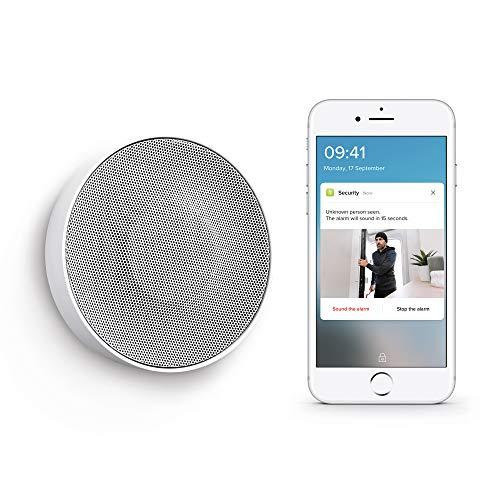Netatmo NIS01-FR Intelligente binnensirene, draadloos, 110 dB, automatische activering/uitschakeling, geen abonnement, werkt op batterijen of netvoeding