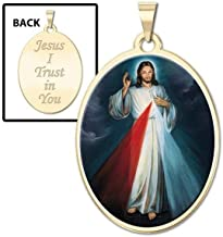 PicturesOnGold.com Divine Mercy Double Sided Oval Religious Medal Color