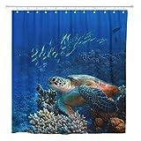 AdaCrazy Cortina de Ducha Red Sea Diving Tortuga Grande sentada en Colorido Coral Home Baño Decoración Tejido de poliéster Impermeable 72 x 72 Pulgadas Set con Ganchos