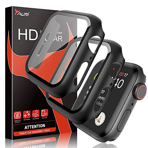 TAURI [2 Stück Hülle Mit Panzerglas Displayschutz Für Apple Watch 44mm Series 5/4, 360° Rundum Schutzhülle, Ultradünne PC Hardcase für iWatch 44mm