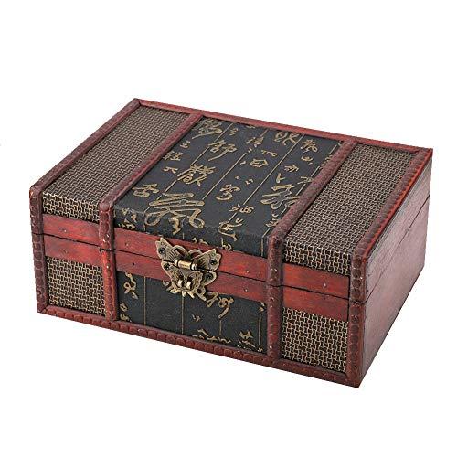 Voluxe Caja de Almacenamiento, útil Caja de Almacenamiento de Libros con diseño de Estilo Chino para almacenar Libros, Libros bíblicos, Documentos, Joyas(Chinese Style with Lock, Blue)