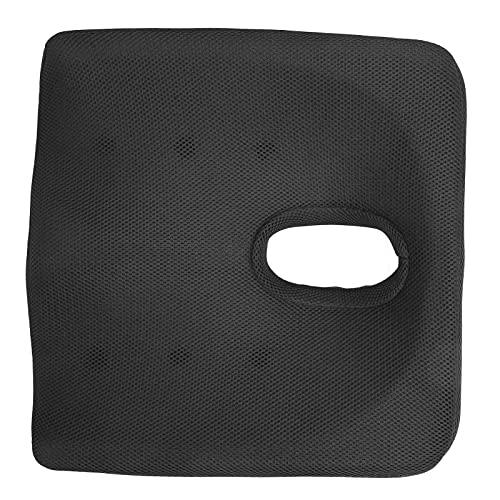 Cojín de coxis, asientos antideslizantes Cojín Firme Cómodo Dolor Alivio de la ciática para silla de coche de oficina(Más grueso: negro)