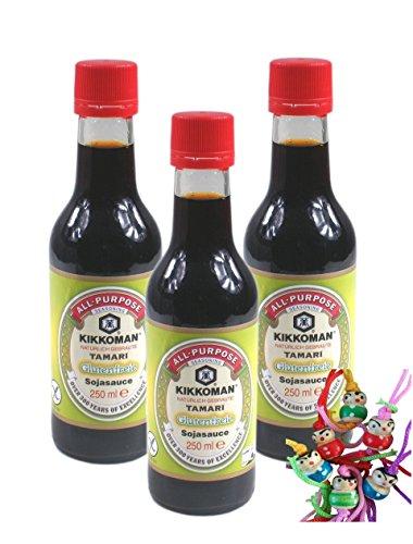 [ 3x 250ml ] KIKKOMAN Tamari Glutenfreie Sojasauce / Soja Soße OHNE WEIZENZUSATZ + ein kleines Glückspüppchen - Holzpüppchen