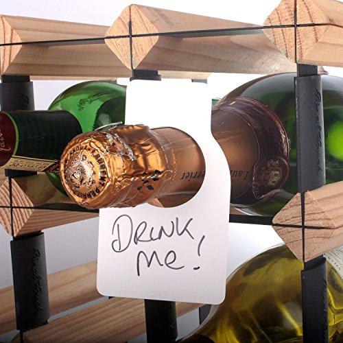 CKB Ltd® 48 Stück Fine Weinflasche Cellar Weinetiketten Flaschenanhänger Für die Etikettierung jeder Flasche während der Lagerung in einem Keller Sammlung Lagerung Rack Enthält trockene Wisch Pen