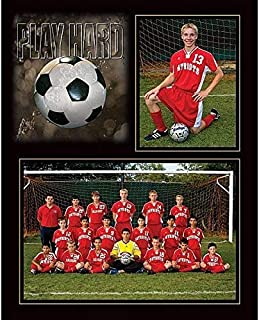 PLAY HARD SOCCER 7x5/3.50x5 MEMORY MATES cardstock double photo frame sold in 10's - 5x7