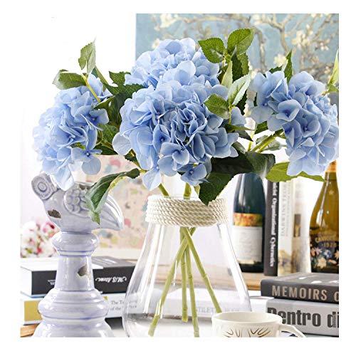 Famibay Hortensie Künstlich Blumen 3 Stücke Gefälschte Seidenblumen Blumensträuße Hochzeit Party Blumen für Garten(3Pcs,Blau)