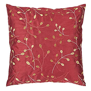 Surya HH-093 Hand Crafted 100% Polyester Venetian Red 22  x 22  Floral Decorative Pillow