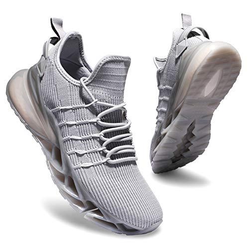 Deevike Wanderschuhe Damen Sneaker Laufschuhe Sportschuhe Turnschuhe Tennisschuhe Straßenlaufschuhe Grau Weiß-38
