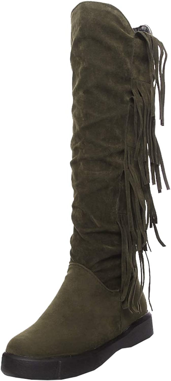 Artfaerie Womens Flat Knee High Boots Tassel Ladies Slouch Fringe Boots Winter Warm Wide Calf Boots