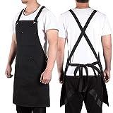 Gesh Delantal de trabajo de lona con bolsillos para herramientas, correas cruzadas en la espalda y delantal ajustable con bolsillos para hombres y mujeres