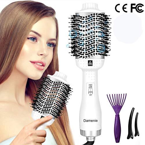 Haartrockner Damenie 5 IN 1 Multifunktions Hair Dryer & Volumizer Heißluftbürste Negativer Lonic Föhnbürste Glatthaarbürste Lockenwickler Stylingbürsten für Alle Styling(Weißes Silber)