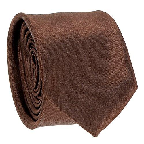 Cravate Fine Marron clair - Cravate Homme Coupe Slim Moderne - 5cm à la Pointe - Couleur Unie - Accessoire Chemise pour Mariage, Cérémonie