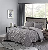 HIG Shabby Chic Comforter Set Queen Gray Lace Ruffled - Pintuck Pinch Pleat Design - Super Soft Prewashed Microfiber Lightweight - 3 Piece Bedding Set with Two Shams(Brianna-Queen,Gray)