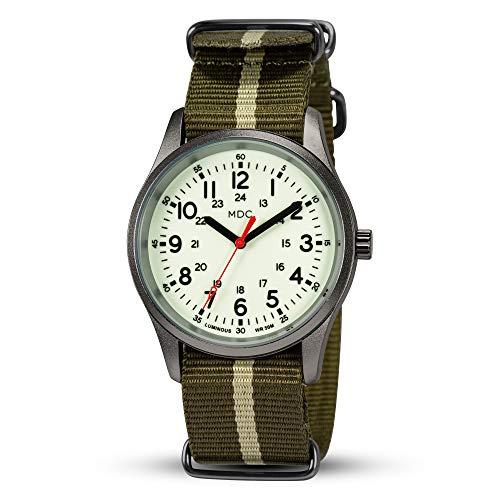 Militär Uhr Herren Armbanduhr Männer Leuchtende Outdoor Uhren Arbeitsuhr Armee Watch Analog Quarzuhr Fliegeruhr Wasserdicht mit Grün Natoband by MDC