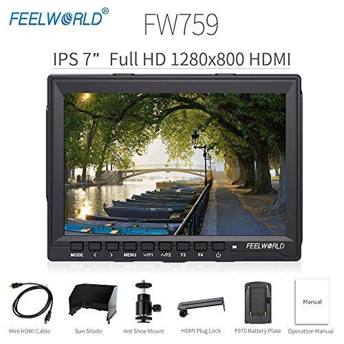 "Feelworld FW759 Camera Monitor 7"" HD 1280x800 Field Video LCD IPS Screen 800:1 High Contrast Ratio..."
